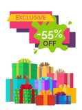 -55 off Exclusive Sale Vector Illustration. 55 off exclusive sale poster with discount value on colorful sticker on white background. Vector illustration vector illustration