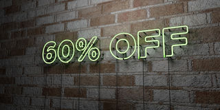 60% OFF - Glowing Neon Sign on stonework wall - 3D rendered royalty free stock illustration. Can be used for online banner ads and direct mailers royalty free illustration