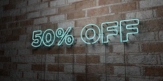 50% OFF - Glowing Neon Sign on stonework wall - 3D rendered royalty free stock illustration. Can be used for online banner ads and direct mailers stock illustration
