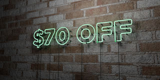 $70 OFF - Glowing Neon Sign on stonework wall - 3D rendered royalty free stock illustration. Can be used for online banner ads and direct mailers Royalty Free Stock Image