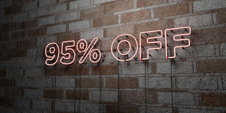 95% OFF - Glowing Neon Sign on stonework wall - 3D rendered royalty free stock illustration. Can be used for online banner ads and direct mailers vector illustration