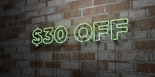 $30 OFF - Glowing Neon Sign on stonework wall - 3D rendered royalty free stock illustration. Can be used for online banner ads and direct mailers royalty free illustration