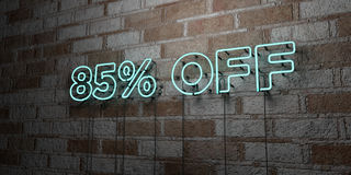 85% OFF - Glowing Neon Sign on stonework wall - 3D rendered royalty free stock illustration. Can be used for online banner ads and direct mailers stock illustration