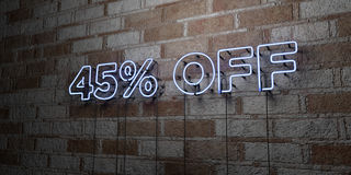 45% OFF - Glowing Neon Sign on stonework wall - 3D rendered royalty free stock illustration. Can be used for online banner ads and direct mailers royalty free illustration