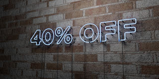 40% OFF - Glowing Neon Sign on stonework wall - 3D rendered royalty free stock illustration. Can be used for online banner ads and direct mailers royalty free illustration