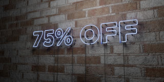 75% OFF - Glowing Neon Sign on stonework wall - 3D rendered royalty free stock illustration. Can be used for online banner ads and direct mailers Stock Photos