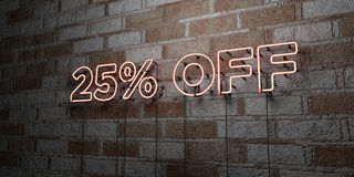 25% OFF - Glowing Neon Sign on stonework wall - 3D rendered royalty free stock illustration. Can be used for online banner ads and direct mailers Stock Photo