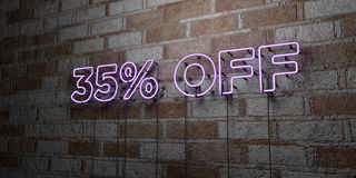 35% OFF - Glowing Neon Sign on stonework wall - 3D rendered royalty free stock illustration. Can be used for online banner ads and direct mailers stock illustration