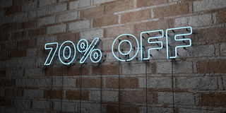 70% OFF - Glowing Neon Sign on stonework wall - 3D rendered royalty free stock illustration. Can be used for online banner ads and direct mailers Stock Image