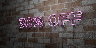 30% OFF - Glowing Neon Sign on stonework wall - 3D rendered royalty free stock illustration. Can be used for online banner ads and direct mailers royalty free illustration