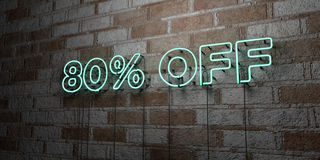 80% OFF - Glowing Neon Sign on stonework wall - 3D rendered royalty free stock illustration. Can be used for online banner ads and direct mailers stock illustration