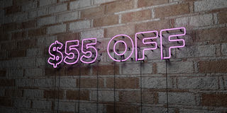 $55 OFF - Glowing Neon Sign on stonework wall - 3D rendered royalty free stock illustration. Can be used for online banner ads and direct mailers stock illustration