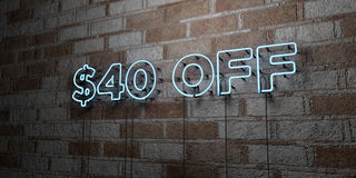 $40 OFF - Glowing Neon Sign on stonework wall - 3D rendered royalty free stock illustration. Can be used for online banner ads and direct mailers Stock Photos