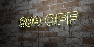 $99 OFF - Glowing Neon Sign on stonework wall - 3D rendered royalty free stock illustration. Can be used for online banner ads and direct mailers Stock Photos