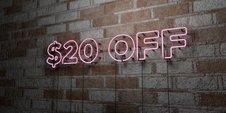 $20 OFF - Glowing Neon Sign on stonework wall - 3D rendered royalty free stock illustration. Can be used for online banner ads and direct mailers royalty free illustration