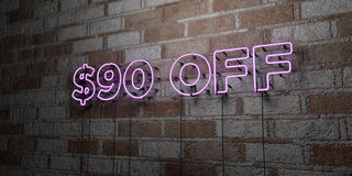 $90 OFF - Glowing Neon Sign on stonework wall - 3D rendered royalty free stock illustration. Can be used for online banner ads and direct mailers Stock Photography