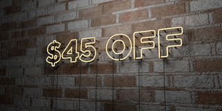 $45 OFF - Glowing Neon Sign on stonework wall - 3D rendered royalty free stock illustration. Can be used for online banner ads and direct mailers royalty free illustration