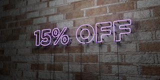 15% OFF - Glowing Neon Sign on stonework wall - 3D rendered royalty free stock illustration. Can be used for online banner ads and direct mailers Stock Image