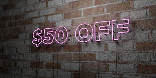 $50 OFF - Glowing Neon Sign on stonework wall - 3D rendered royalty free stock illustration. Can be used for online banner ads and direct mailers Stock Photography