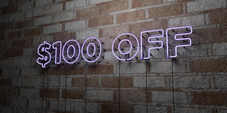 $100 OFF - Glowing Neon Sign on stonework wall - 3D rendered royalty free stock illustration. Can be used for online banner ads and direct mailers Royalty Free Stock Photography