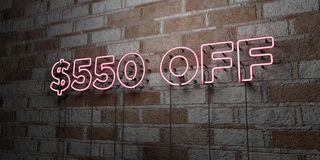 $550 OFF - Glowing Neon Sign on stonework wall - 3D rendered royalty free stock illustration. Can be used for online banner ads and direct mailers Stock Photography