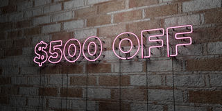 $500 OFF - Glowing Neon Sign on stonework wall - 3D rendered royalty free stock illustration. Can be used for online banner ads and direct mailers Stock Image