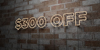 $300 OFF - Glowing Neon Sign on stonework wall - 3D rendered royalty free stock illustration. Can be used for online banner ads and direct mailers Royalty Free Stock Photography