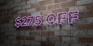 $275 OFF - Glowing Neon Sign on stonework wall - 3D rendered royalty free stock illustration. Can be used for online banner ads and direct mailers royalty free illustration