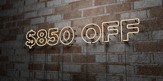 $850 OFF - Glowing Neon Sign on stonework wall - 3D rendered royalty free stock illustration. Can be used for online banner ads and direct mailers stock illustration