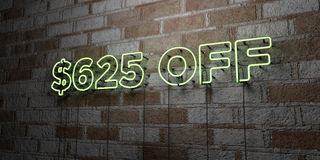 $625 OFF - Glowing Neon Sign on stonework wall - 3D rendered royalty free stock illustration. Can be used for online banner ads and direct mailers royalty free illustration
