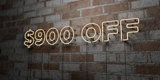 $900 OFF - Glowing Neon Sign on stonework wall - 3D rendered royalty free stock illustration. Can be used for online banner ads and direct mailers Royalty Free Stock Photography