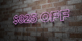 $825 OFF - Glowing Neon Sign on stonework wall - 3D rendered royalty free stock illustration. Can be used for online banner ads and direct mailers stock illustration