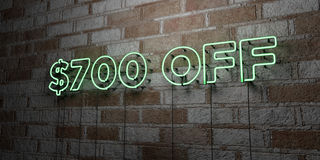 $700 OFF - Glowing Neon Sign on stonework wall - 3D rendered royalty free stock illustration. Can be used for online banner ads and direct mailers royalty free illustration