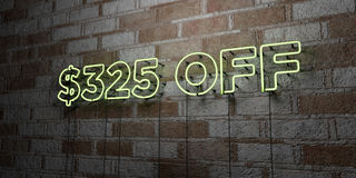$325 OFF - Glowing Neon Sign on stonework wall - 3D rendered royalty free stock illustration. Can be used for online banner ads and direct mailers royalty free illustration