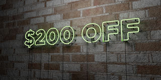 $200 OFF - Glowing Neon Sign on stonework wall - 3D rendered royalty free stock illustration. Can be used for online banner ads and direct mailers vector illustration