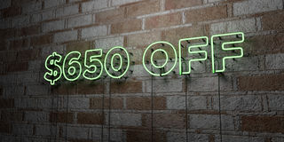 $650 OFF - Glowing Neon Sign on stonework wall - 3D rendered royalty free stock illustration. Can be used for online banner ads and direct mailers royalty free illustration