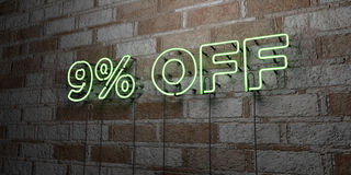 9% OFF - Glowing Neon Sign on stonework wall - 3D rendered royalty free stock illustration. Can be used for online banner ads and direct mailers vector illustration