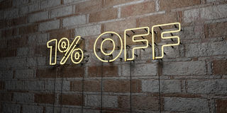 1% OFF - Glowing Neon Sign on stonework wall - 3D rendered royalty free stock illustration. Can be used for online banner ads and direct mailers royalty free illustration