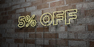 5% OFF - Glowing Neon Sign on stonework wall - 3D rendered royalty free stock illustration. Can be used for online banner ads and direct mailers royalty free illustration