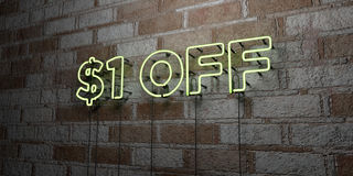$1 OFF - Glowing Neon Sign on stonework wall - 3D rendered royalty free stock illustration. Can be used for online banner ads and direct mailers Royalty Free Stock Photos