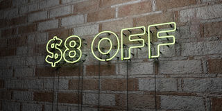 $8 OFF - Glowing Neon Sign on stonework wall - 3D rendered royalty free stock illustration. Can be used for online banner ads and direct mailers stock illustration