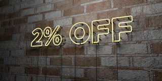 2% OFF - Glowing Neon Sign on stonework wall - 3D rendered royalty free stock illustration. Can be used for online banner ads and direct mailers Stock Photos