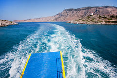 Off we go. View from a boat in the sea Royalty Free Stock Images
