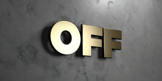 Off - Gold sign mounted on glossy marble wall  - 3D rendered royalty free stock illustration. This image can be used for an online website banner ad or a print Royalty Free Stock Photography