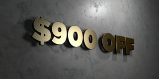 $900 off - Gold sign mounted on glossy marble wall  - 3D rendered royalty free stock illustration. This image can be used for an online website banner ad or a Royalty Free Stock Image