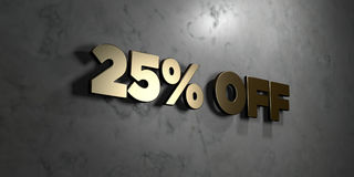 25% off - Gold sign mounted on glossy marble wall  - 3D rendered royalty free stock illustration. This image can be used for an online website banner ad or a Stock Photo