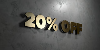 20% off - Gold sign mounted on glossy marble wall  - 3D rendered royalty free stock illustration Royalty Free Stock Images