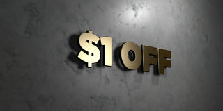 $1 off - Gold sign mounted on glossy marble wall  - 3D rendered royalty free stock illustration Stock Images