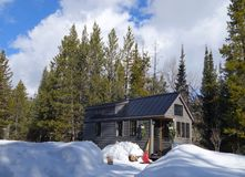 Off grid tiny house. That is lived in full time in the mountains of Wyoming Stock Images
