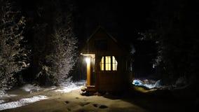Off grid Winter Tiny House Stock Photos